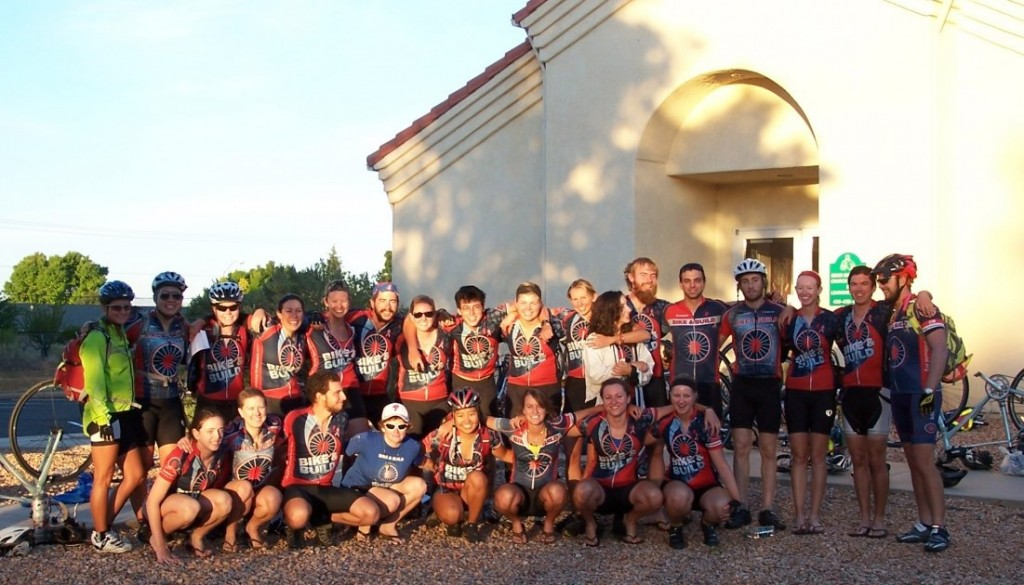 A picture of the members of Bike & Build, a group of young-adult volunteers, will arrive on bicycle from Jacksonville, Fla., this Thursday to help repair and renovate several homes in the Paradise Palms retirement community.