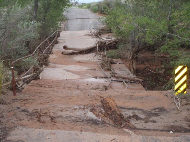 Flash flood damage Red Cliffs Utah