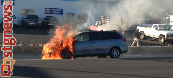 Vehicle engulfed in flames on bluff street cedar city news for Zion motors st george