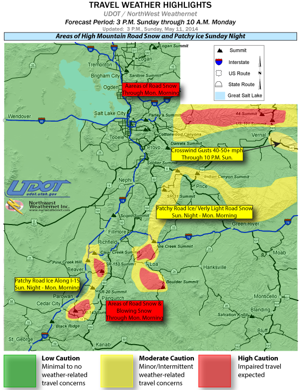 Road impacts forecast period from 3 p.m. May 11 through 10 a.m. May 12, Southern Utah, May 12, 2014 | Image courtesy of Utah Department of Transportation, St. George News | Click on map to enlarge