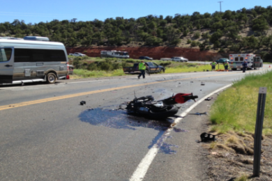 Man killed in motorcycle-RV head-on crash – Cedar City News