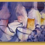 """""""Wine Glasses"""" watercolor by John Mangels, Southern Utah 