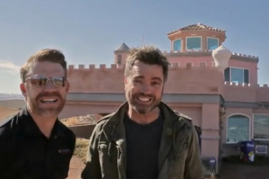 "L-R: ""No Filter Show"" Co-hosts Grady Sinclair, Paul Ford, visiting the castle on the point over the Bloomington subdivision of St. George, Utah, March 2015 
