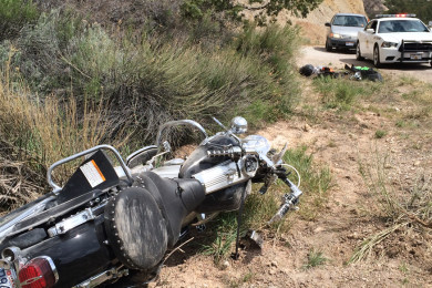Motorcycle accident in Cedar Canyon, Highway 14, milepost 4, Cedar City, Utah, April 24, 2015 | Photo by Carin Miller, St. George