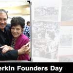 """Forefront L-R: Gov. Gary R. Herbert, Ardella Heiner. Heiner was honored as daughter of Henry and Susanna Gubler, one of the city's founding couples. LaVerkin """"Founders Day"""" celebration, LaVerkin, Utah, April 25, 2015 