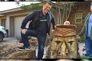 L-R: Co-host Grady Sinclair, Arbor Tech owner and arborist Mark Hodges, Co-host Paul Ford, visit landscape architect John Costanza's palm tree tiki off Foremaster North in St. George, Utah, April 24, 2015 | Photo by Dan Fowlks, St. George News