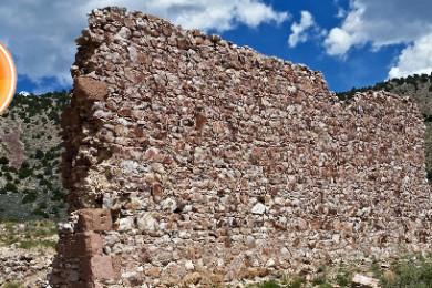 A wall is all that remains of a building at the Delamar Mine near Caliente, Nevada, June 13, 2015 | Photo by Julie Applegate, St. George News