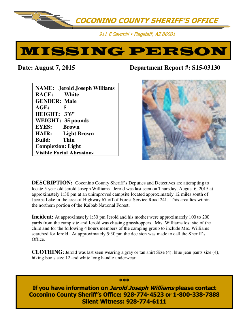 Jerold Williams, 5-Year-Old, Missing Since Thursday, August 6, 2015 - Coconino County,  AZ  Jerold-Williams-Flyer