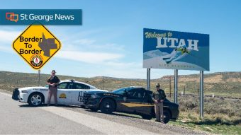 Officers From Utah And Wyoming Highway Patrols Pose To Show Joint Participation In The Border Operation That Begins Monday