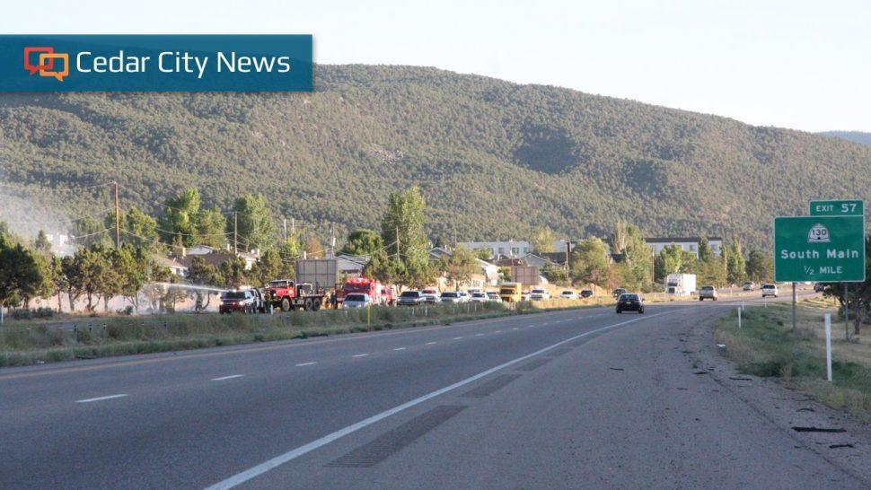 Shredded Tire Causes Brush Fire Traffic Delays On I 15 Near Cedar